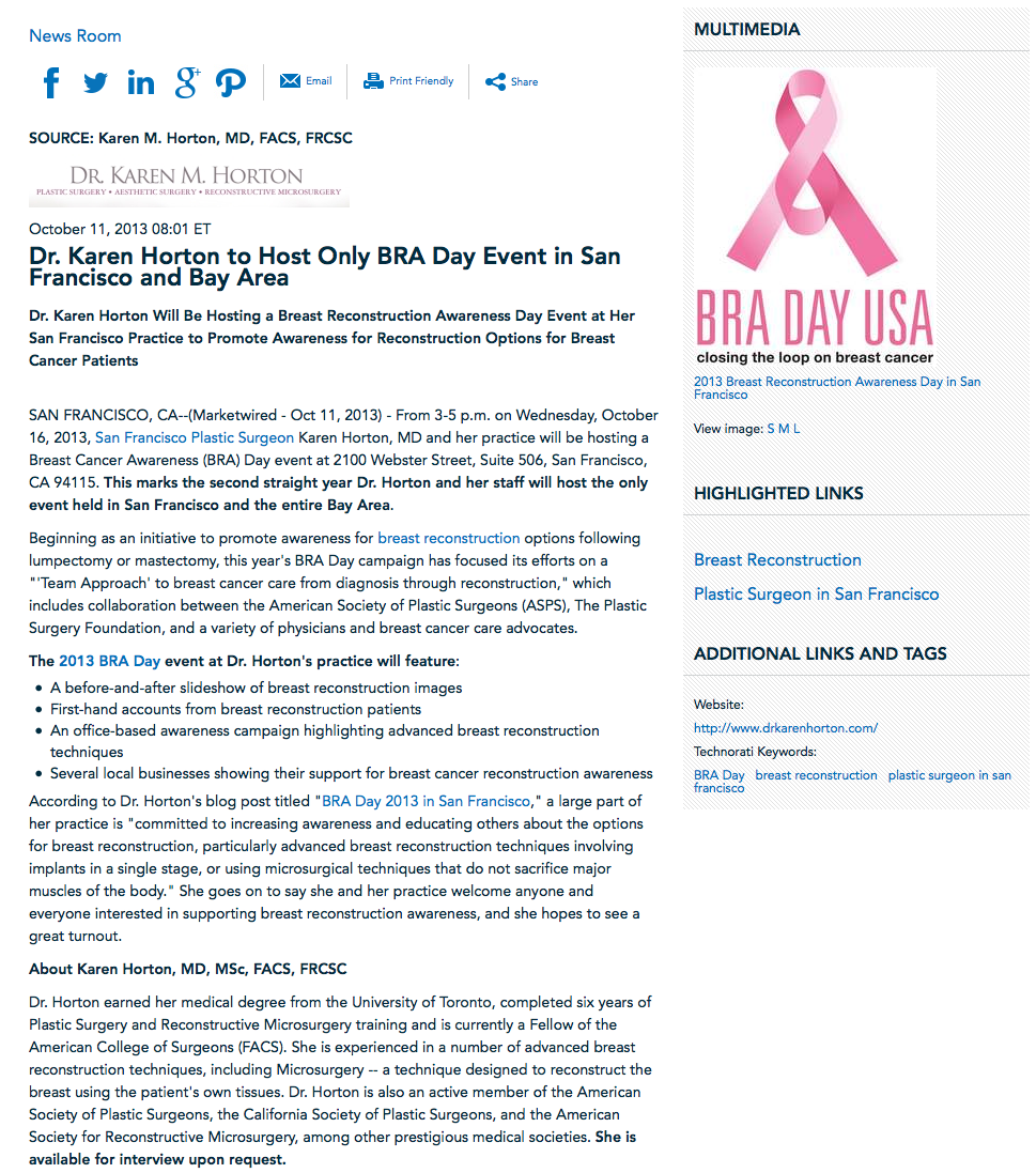 BRA Day, plastic surgeon in san francisco, breast reconstruction