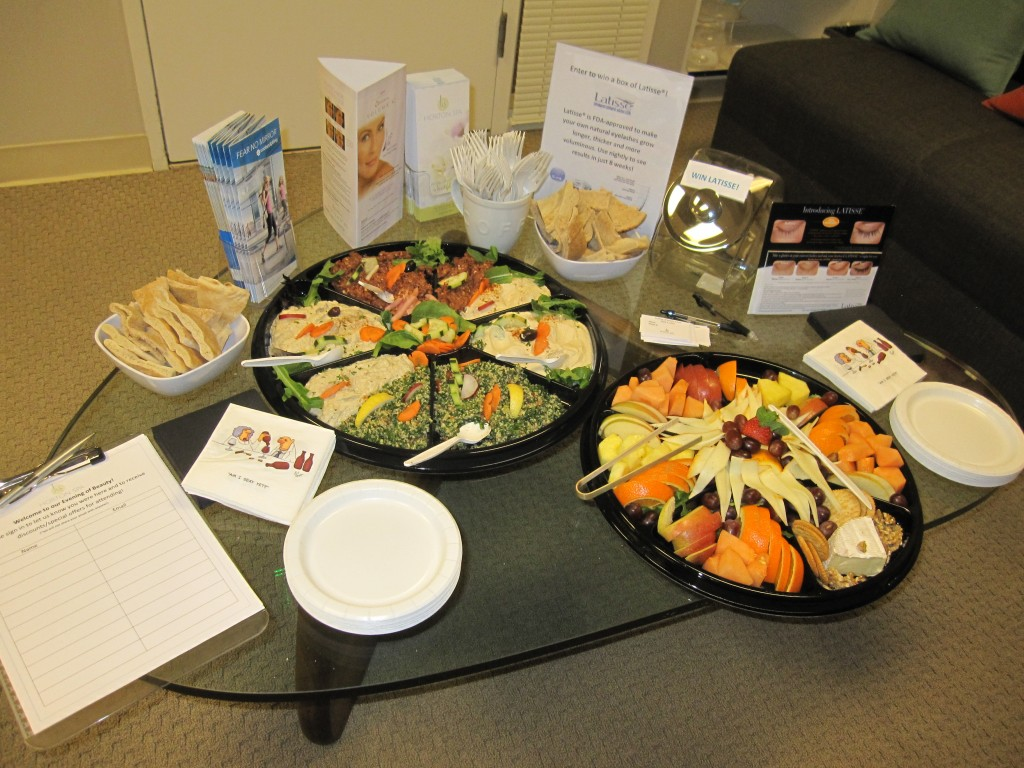 Munchies from La Med at our Evening of Beauty at Horton SPA