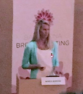 Presenting at the Barcelona Breast Meeting - the emblem atop my head looks like the BBM crown!
