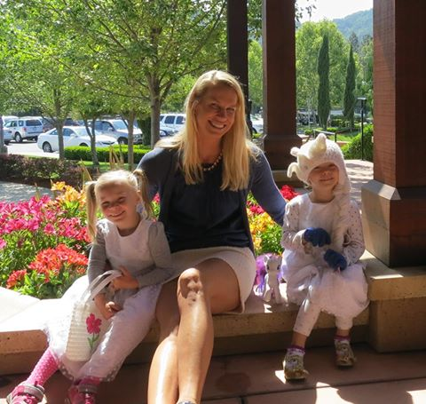 Dr. Karen Horton with her twin daughters on Mother's Day, 2015