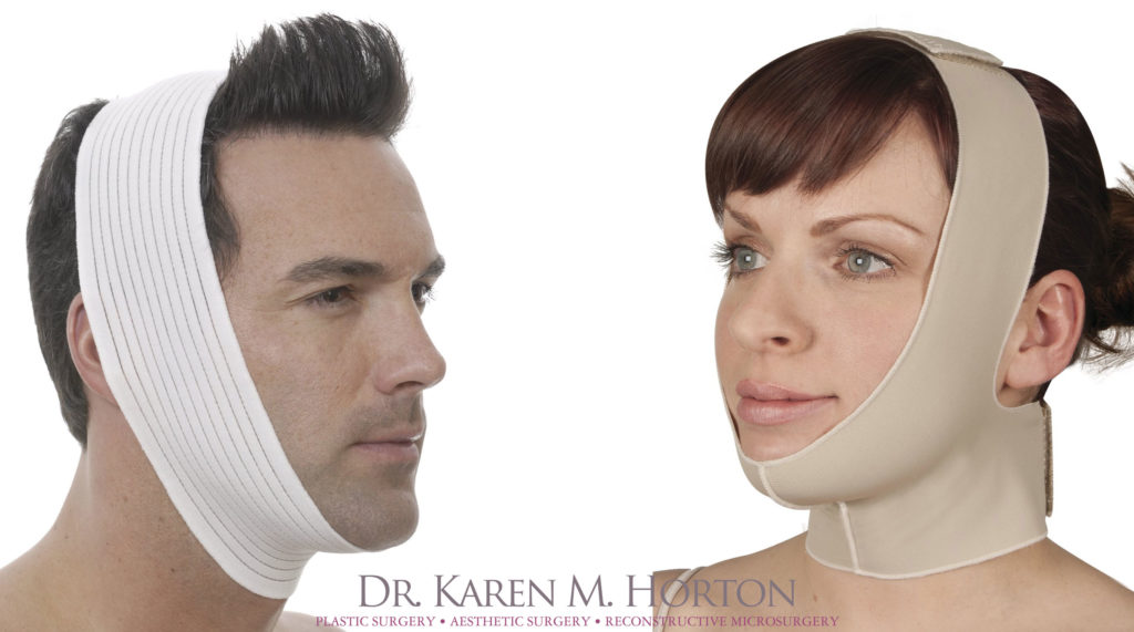 you will be discharged home wearing a comfortable chin strap that will  support the repair and help to decrease surgical swelling (see photo)